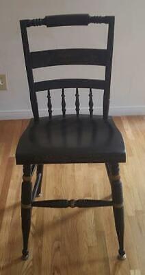 Beautiful Antique Sold Wood Ladder Back Side Chair - VGC - Fabulous Black Enamel