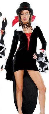 Forplay Party Reit Kostüm Maxi Cosplay Schwarz Kleid Zylinder Gr. L 40 - 42