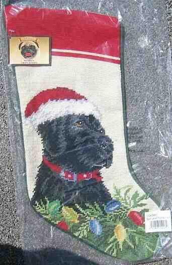 Large Stocking LAB RETRIEVER BLACK Dog Needlepoint Christmas Holiday Stocking