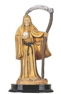 "5"" Inch Gold Santa Santisima Muerte Holy Death Grim Reaper Statue Skull Figurine"
