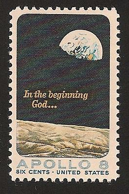 Apollo 8 First Manned Orbit Around the Moon Surface & Earth NASA US Space Stamp!