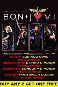 BON JOVI 2010 Laminated Australian Tour Poster
