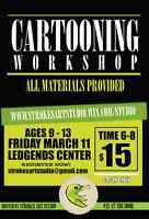 Cartooning Workshop ages 9-13 in Legends Centre!