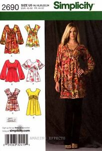 Simplicity Sewing Pattern 2690 Women's Mini Dress Tunics Tops 16-24 misses