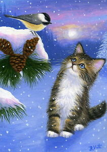 Tabby cat chickadee bird winter snow limited edition aceo print art