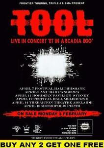 TOOL 1997 Laminated Australian Tour Poster