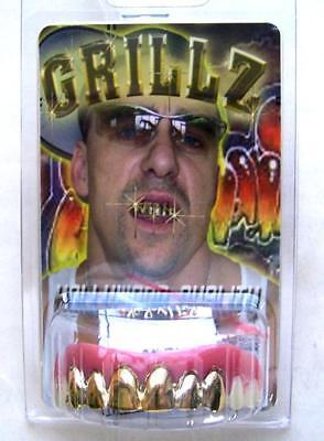 GOLD GRILLS FAKE TEETH fake goofy joke bad false hill costume billy bob #942 - Fake Grill Teeth