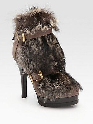 "FENDI ""Winter Tale"" Fur Leather Buckled Platform Ankle Booties Boots Heels $1750"