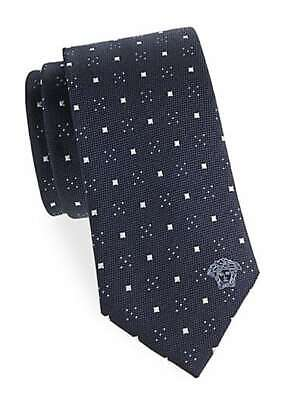 "Versace Collection Navy Blue Light Geometric Silk Tie Tie 3"" Wide  Made in Italy"