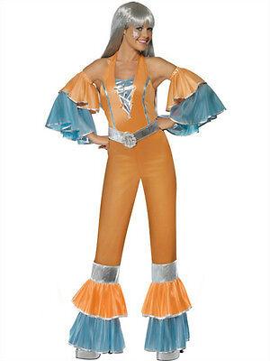 70's Female Costumes (Smiffy's Womens 70's Frilly Fantastic Female Adult Costume Jumpsuit Medium)