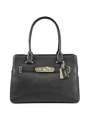 NWT COACH 36488 $395 Swagger Carryall Pebbled Leather Tote Shoulder Bag, Black