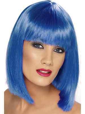 Womens Blue Glam Wig Short Blunt Fringe Fancy Dress Beauty Model Styled Bob Katy