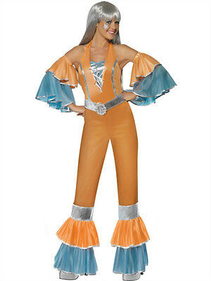 70's Female Costumes (Smiffy's Women's 70's Frilly Fantastic Female Adult Costume Jumpsuit Small)