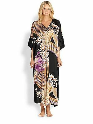 NWT New Josie Natori S Silk Floral Chinois Caftan Womens Night Gown Kaftan Desig