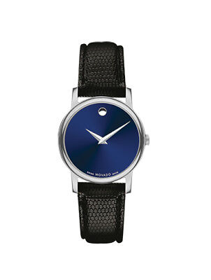 Dial Lizard Strap - BRAND NEW MOVADO 2100010 CLASSIC MUSEUM BLUE DIAL BLACK LIZARD GRAIN STRAP WATCH