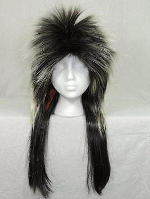 - Headbanger Adult Long Frosted Black Wig with Bangs