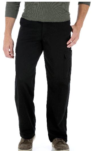 Wrangler BIG MAN Legacy Cargo Pants Black Relaxed Fit Straig