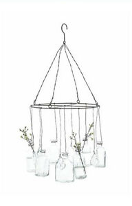 Creative Co-Op Wire Hanging of Glass Vases and Crystals