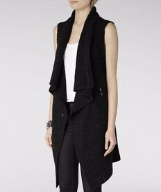 £168 New with tag ALLSAINTS ALL SAINTS Force Sleeveless Cardigan ~ Jet ~ UK 8 US 4