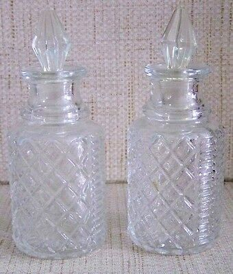 VINTAGE MINIATURE GLASS VINEGAR & OIL CRUETS BOTTLES