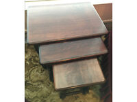 Set of 3 nesting tables, occasional or end tables, solid wood, excellent condition £20 ono.