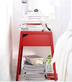 2x Red Bedside Tables