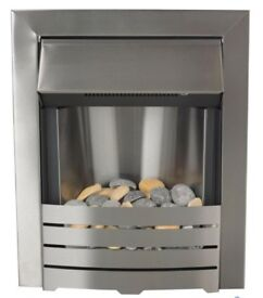 Modern stainless steel inset electric fire