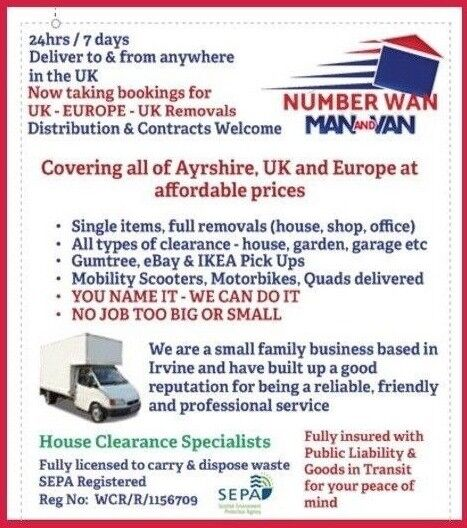 7512c11998 Number Wan - Man   Van CALL FOR THE BEST PRICE IN AYRSHIRE. Irvine