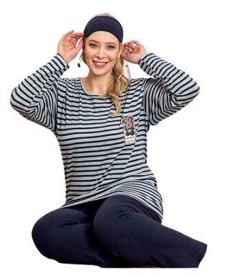 Damen Pyjama-Set Schlafanzüge Übergröße Große Größen aus Baumwolle 4320