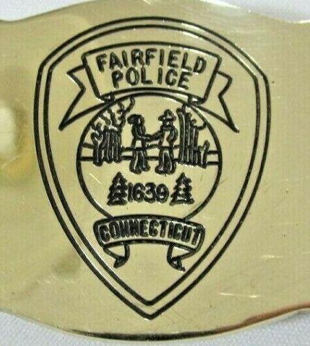 Fairfield Connecticut Police Vintage Solid Brass Belt Buckle RARE!