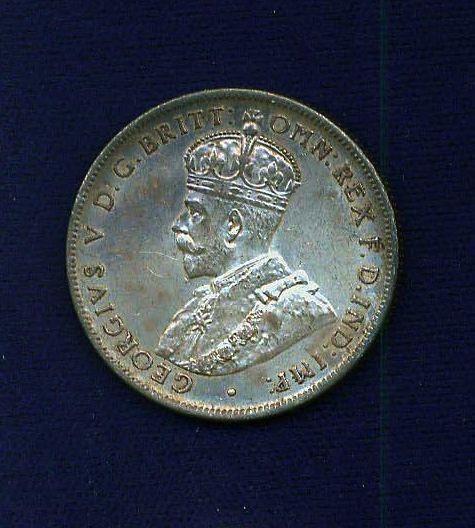 AUSTRALIA GEORGE V  1917-M  1 FLORIN  SILVER COIN, NICE, GRADES:  XF+