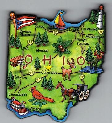OHIO   OH   ARTWOOD STATE MAP MAGNET  COLUMBUS CINCINNATI DAYTON AKRON TOLEDO