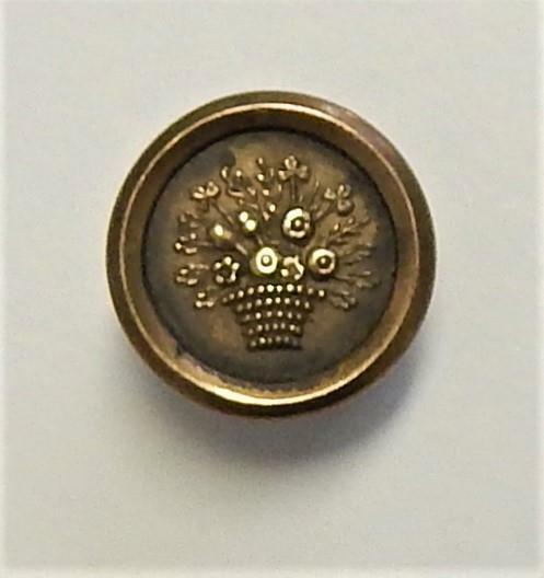 Small Antique Jacksonian Era Brass Fine Colour Button Basket of Flowers