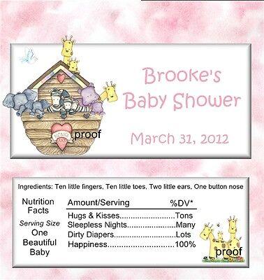 15 Noah's Ark Girl Baby Shower Candy Bar Wrappers - Noahs Ark Baby Shower