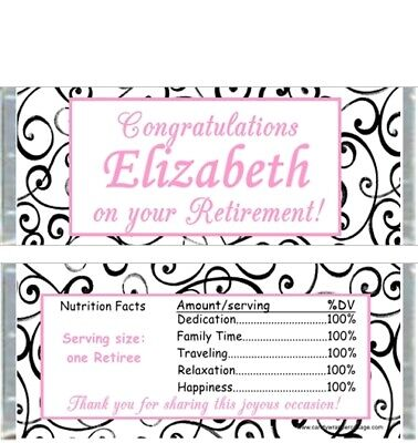 RETIREMENT BLACK WHITE PINK SWIRLS PERSONALIZED PARTY CANDY WRAPPERS FAVORS (Black White Pink Party)