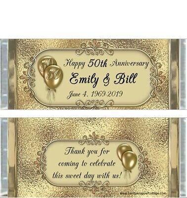 20 50th GOLDEN ANNIVERSARY PARTY PERSONALIZED CANDY BAR WRAPPERS FAVORS 50th Anniversary Candy Wrappers
