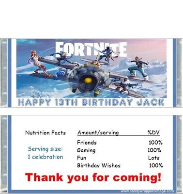 20 Fortnite Personalized Birthday Candy Bar Wrappers Favors (Wholesale Candy Bars)