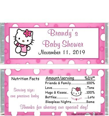 20 Hello Kitty Personalized Baby Shower Candy Bar Wrappers - Baby Shower Candy Bar Wrappers