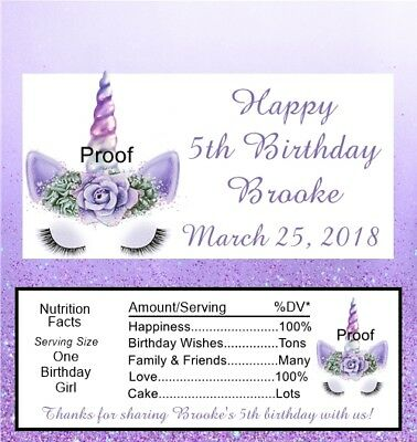 15 Unicorn Personalized Birthday Candy Bar Wrappers Pink or Purple](Purple Candy Bar)