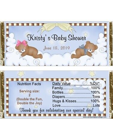 20 Sleepy Teddy Bear TWINS Personalized Baby Shower Candy Bar Wrappers Favors