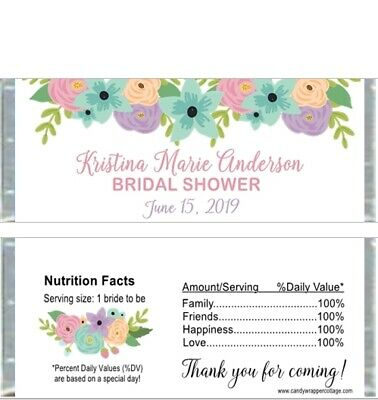 20 BRIDAL SHOWER ELEGANT FLOWERS Personalized Shower Candy Wrappers -