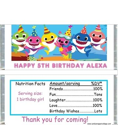 20 Baby Shark Personalized Birthday Candy Bar Wrappers Favors (Wholesale Candy Bars)