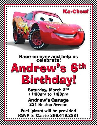 12 Printed Cars Invitations w/envelopes ~ Style #2 by The Notecard Lady - Cars Invitations