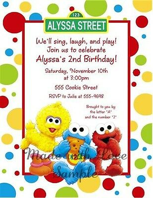 10 Sesame Street Elmo Cookie Babies Birthday Party Invitations 1st 2nd 3rd 4th