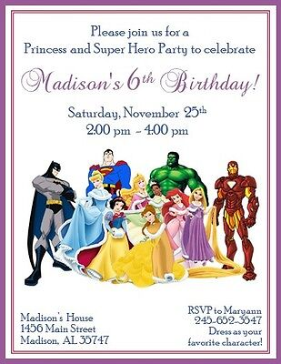 12 Custom Princess and Superhero Invitations ~ Style #1  ~ by The Notecard Lady](Superhero Invitations)