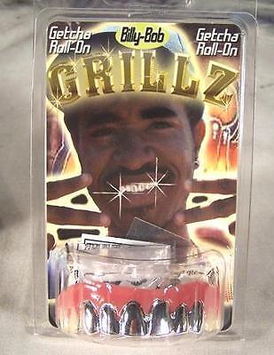 PLATINUM SILVER GRILLS FAKE TEETH fake rotten joke false hill billy bob grillz - Fake Grill Teeth