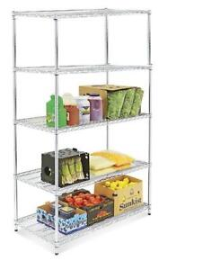 Chrome Wire Shelving Unit - 48 x 24 x 86""