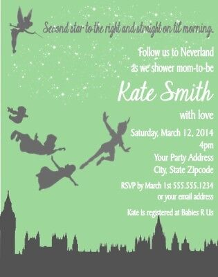 Peter Pan Tinkerbell Birthday Party Invitations Invites Personalized Custom - Personalized Party Invitations