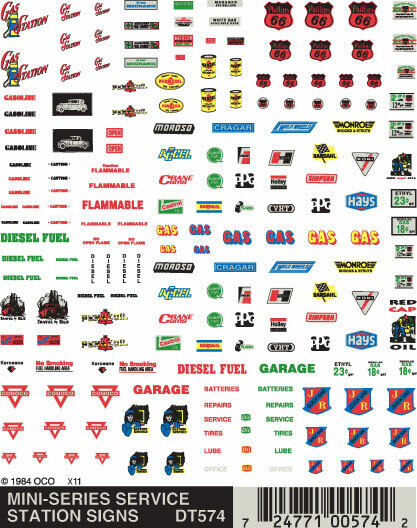Woodland Scenics Mini-Series Service Station Signs Dry Transfer Decals DT574