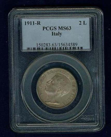 ITALY  KINGDOM  1911-R   2 LIRE  SILVER COIN  CERTIFIED PCGS MS63
